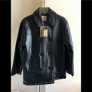 NWT Faux Leather Pea Coat wIth Full Quilted Lining